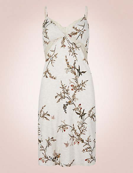 Floral Print Laced Chemise