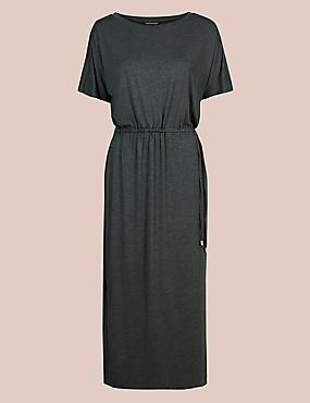 Marl Short Sleeve Nightdress, CHARCOAL, catlanding