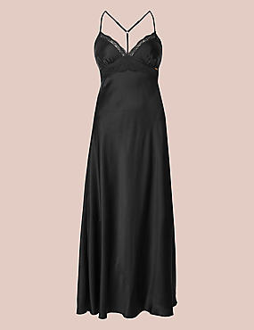 Pure Silk Embroidered Long Nightdress
