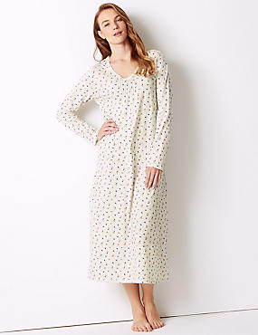 Floral Print Long Sleeve Nightdress, OATMEAL MIX, catlanding