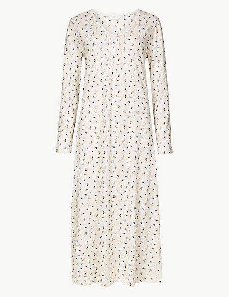 Floral Print Long Sleeve Nightdress