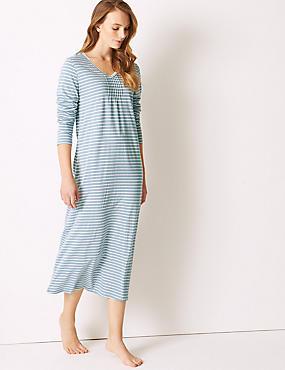 Modal Blend Striped Long Nightdress