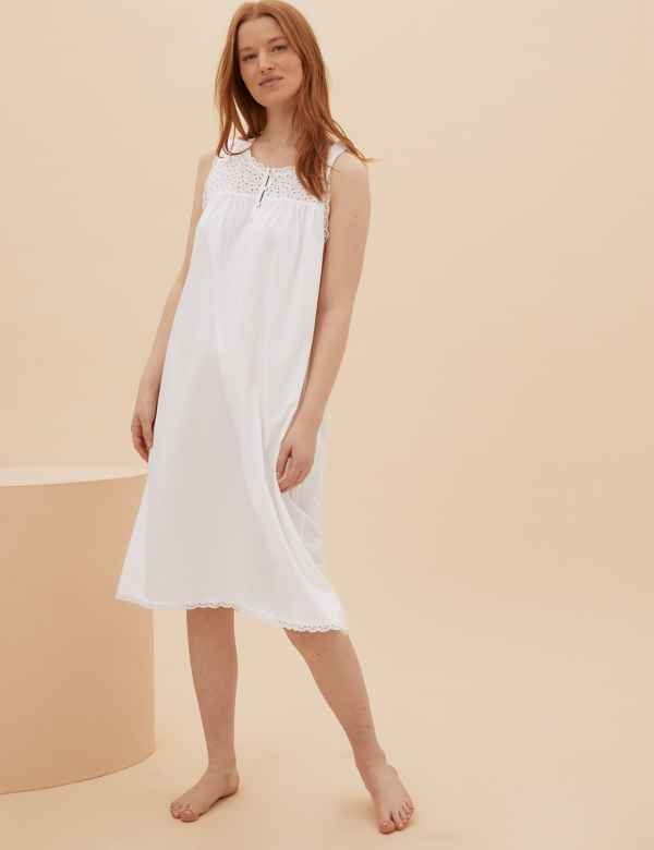 b4b3ec38d7 Pure Cotton Broderie Sleeve Nightdress. M S Collection