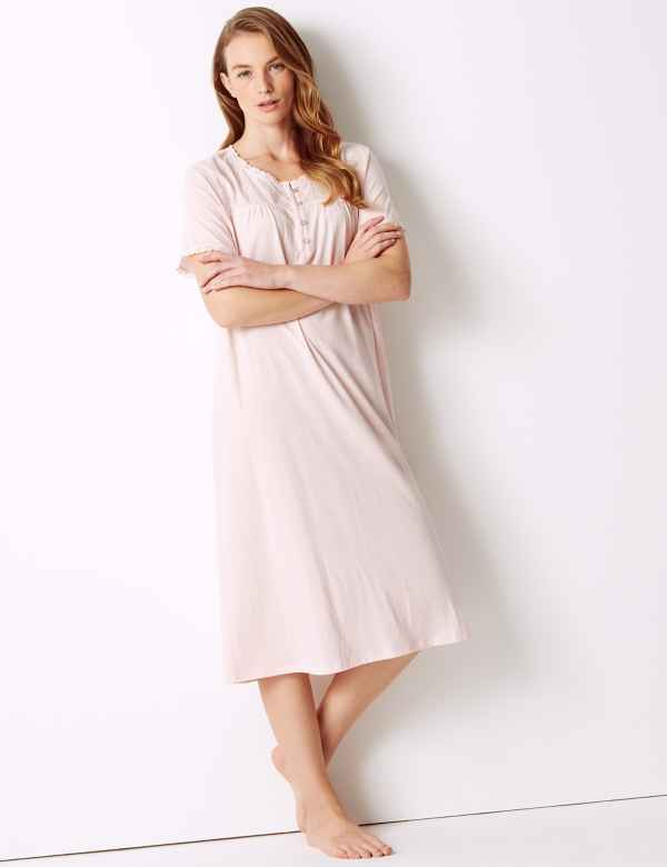a2d8680083 Pure Cotton Broderie Detail Nightdress