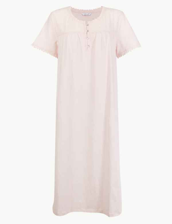 Pure Cotton Broderie Detail Nightdress. M S Collection ca8b89513