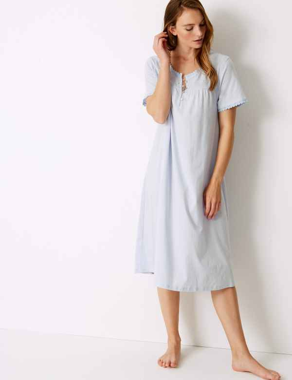 8a4615e0ea Pure Cotton Embroidered Nightdress