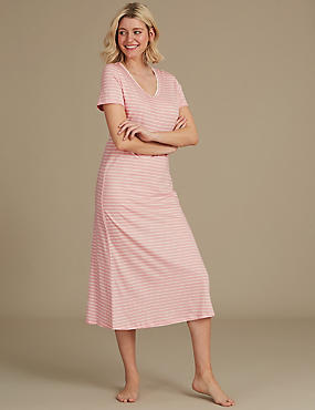 Modal Blend Striped Nightdress, LIGHT PINK MIX, catlanding
