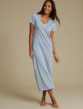 Modal Blend Striped Nightdress, BLUE MIX, catlanding