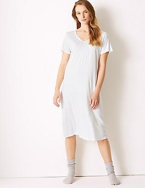 Modal Blend Tile Print Long Nightdress, WHITE MIX, catlanding