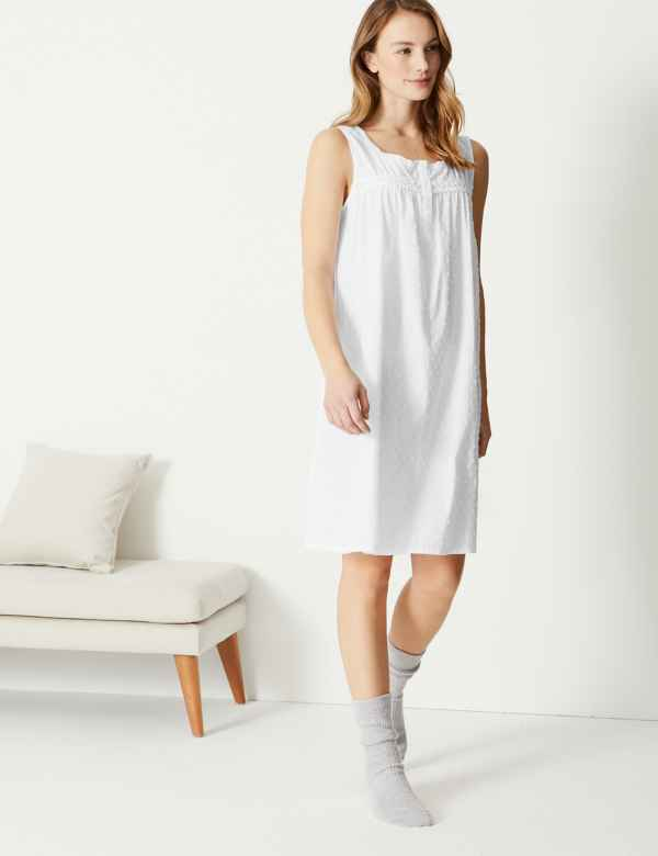 Pure Cotton Dobby Short Nightdress. M S Collection 638cacd3b