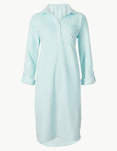 Fleece Printed Long Sleeve Nightdress