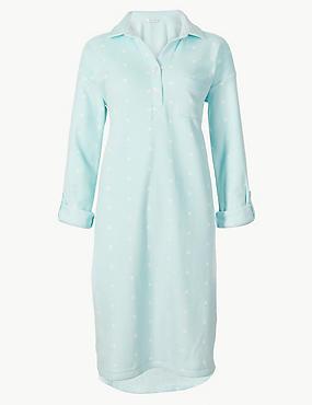 Printed Long Sleeve Nightdress , BLUE MIX, catlanding