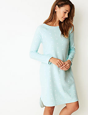 Printed Long Sleeve Nightdress, BLUE MIX, catlanding