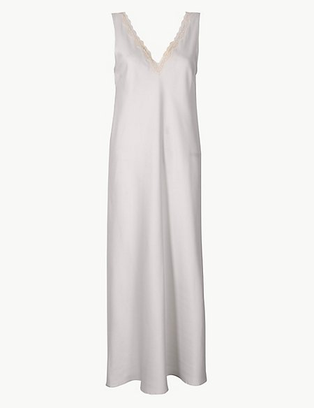 Bridal Satin Lace Trim Long Nightdress