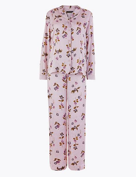 Rosie Satin Floral Print Pyjama Set