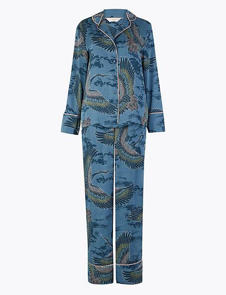 Satin Crane Bird Design Pyjama Set