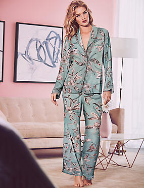 Satin Printed Long Sleeve Pyjama Set