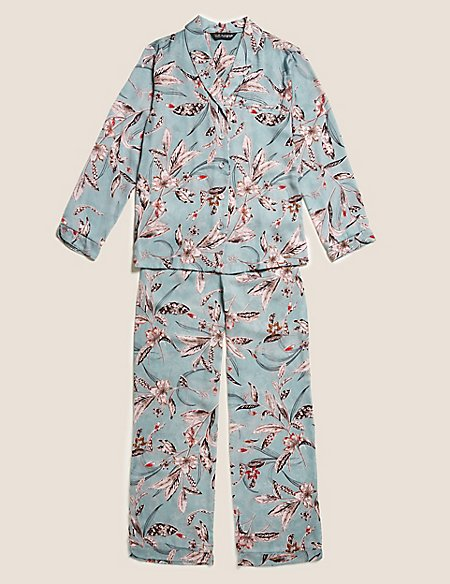 Satin Printed Long Sleeve Pyjama Set