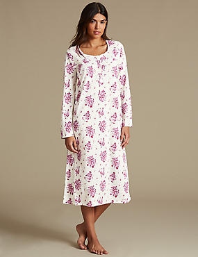 Floral Print Nightdress, CREAM MIX, catlanding