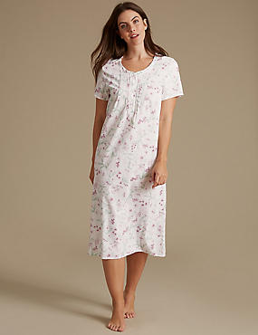 Cotton Blend Floral Print Nightdress, PINK MIX, catlanding
