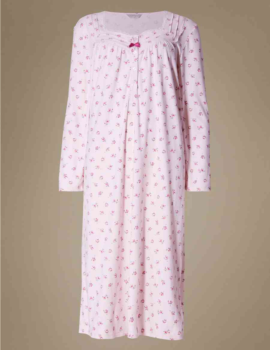 11fb20d82b Pure Brushed Cotton Soft Floral Nightdress