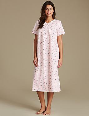 Ditsy Floral Print Nightdress, PINK MIX, catlanding