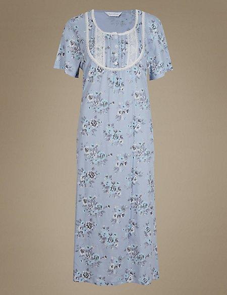 Cotton Blend Floral Long Nightdress