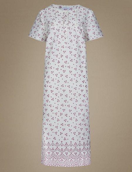 Woven Print Long Nightdress