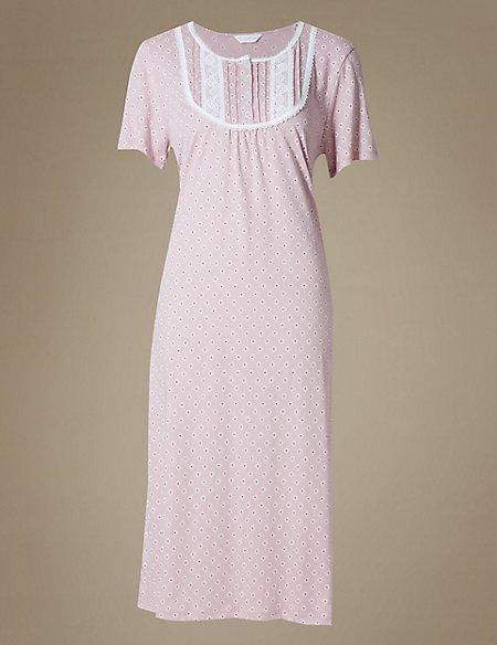 Crochet Trim Printed Jersey Nightdress