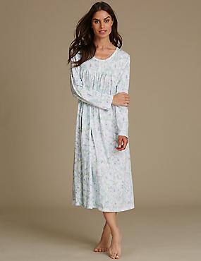Floral Print Pintuck Nightdress, SOFT BLUE, catlanding