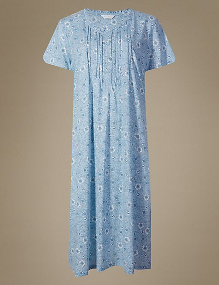 Floral Print Embroidered Nightdress