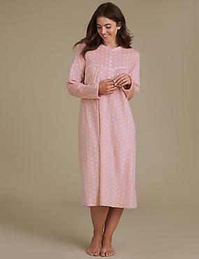Spotted Fleece Nightdress, PINK MIX, catlanding