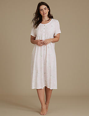 Cotton Rich Floral Print Nightdress, PINK MIX, catlanding