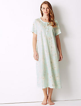 Cotton Rich Floral Print Nightdress, AQUA MIX, catlanding