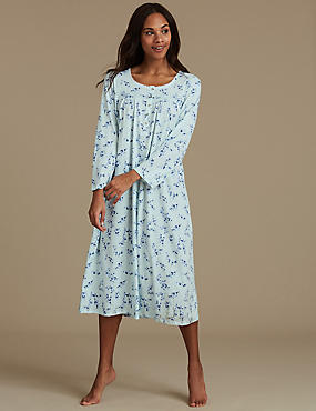 Cotton Rich Floral Print Long Sleeve Nightdress, LIGHT MINT, catlanding