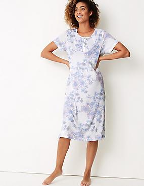 Floral Print Short Sleeve Nightdress, WHITE MIX, catlanding