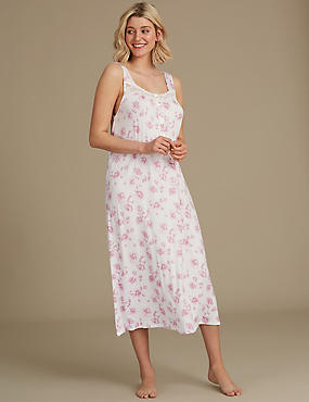 Floral Print Jersey Nightdress , PINK MIX, catlanding