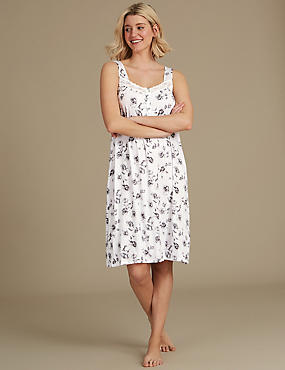 Floral Print Jersey Nightdress , GREY MIX, catlanding