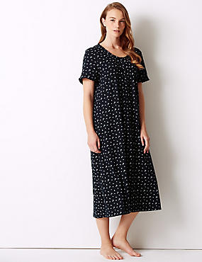 Ditsy Floral Print Short Nightdress, NAVY MIX, catlanding