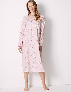 Pure Cotton Floral Print Nightdress, LIGHT PINK MIX, catlanding