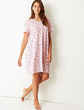 Cotton Rich Floral Print Nightdress , PINK MIX, catlanding