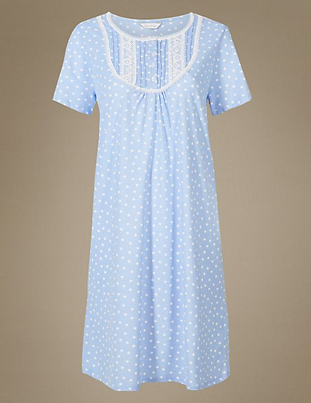 Polka Dot Short Sleeve Nightdress
