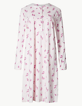 Fleece Leaf Print Long Sleeve Nightdress