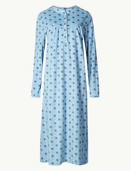 Fleece Winter Print Long Sleeve Nightdress