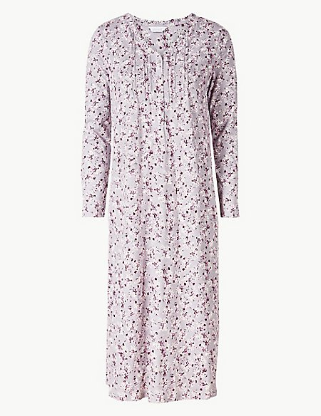 Ditsy Floral Print Long Sleeve Nightdress