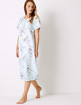 Cotton Blend Printed Short Sleeve Nightdress