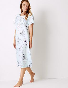 Cotton Blend Printed Short Sleeve Nightdress, LILAC MIX, catlanding