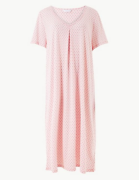 Cotton Rich Printed Short Nightdress