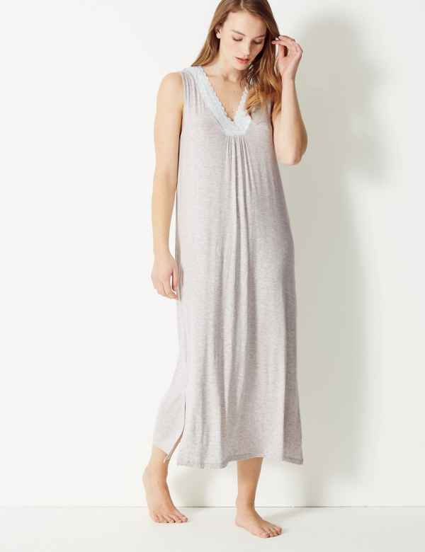 Lace Trim Jersey Longer Length Nightdress. New. M S Collection f0009c9ce