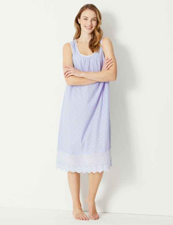 Pure Cotton Embroidered Dobby Nightdress 44973d982